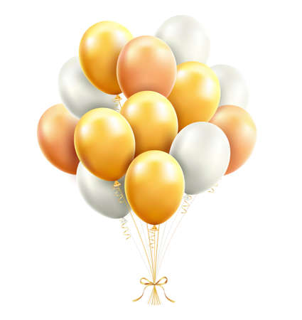 Gold and white Balloons with ribbon vector illustrations.