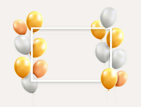 Gold and white balloons with frame vector illustrations.