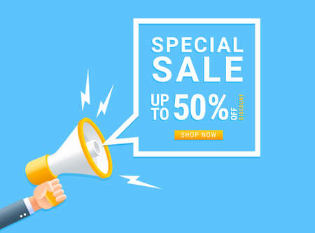 Human hand holding megaphone with bubble for special sale marketing concept.