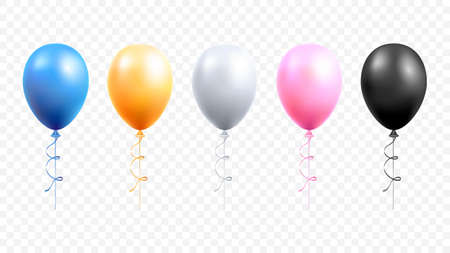 Happy birthday card party with balloons set vector illustrations. 矢量图像