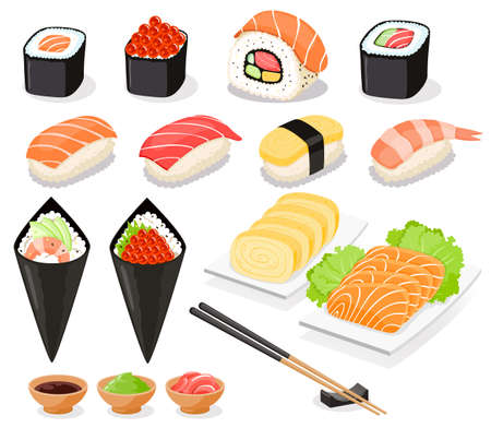 Sushi collection Asia food icons. Vector illustrations. 矢量图像