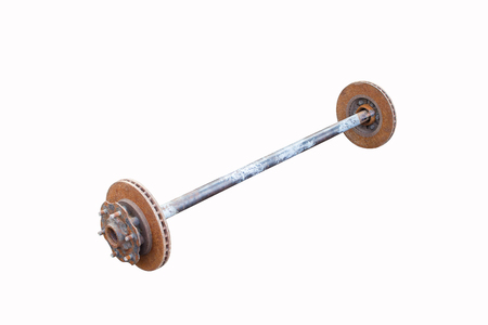 barbell Made of old steel scrap isolated on white background Stock Photo