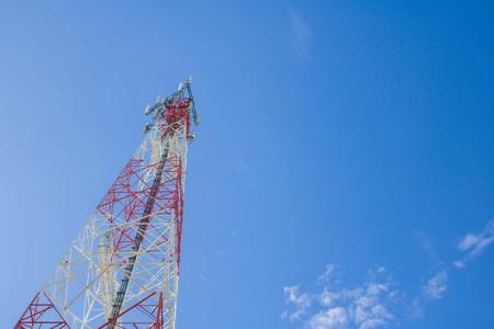 Communication Tower on Blue Sky background