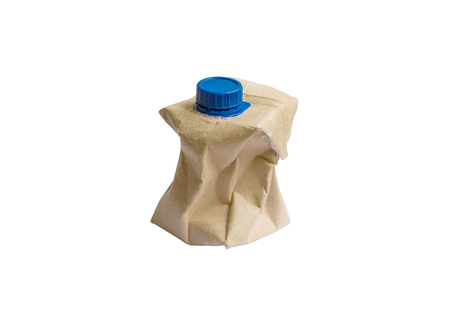 Used Brown milk carton isolated on white background
