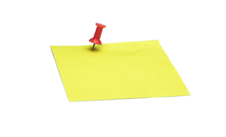 Yellow note and Red pushpin isolated on white background with copy space Standard-Bild
