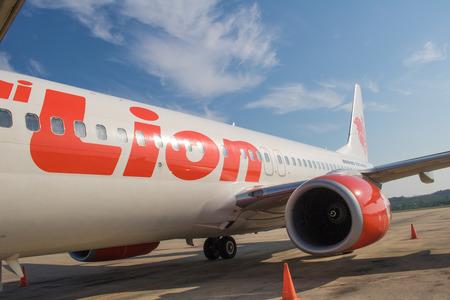 Krabi, THAILAND - April 6, 2019 Flight of Lionair while on the runway at krabi Hatta International Airport Editorial