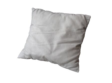 Close-up old white pillow isolated on white background
