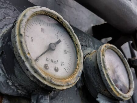 close-up Old Pressure gauge, manometer on pneumatic control system with copy space