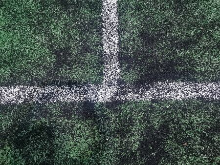 white line on a green soccer field. with copy space