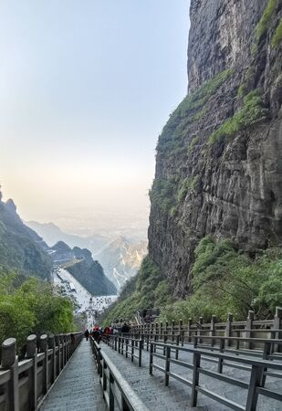 staircase stone onThe Heaven's Gate, national park Zhangjiajie,The Tianmen Mountain,China Banque d'images - 143493986