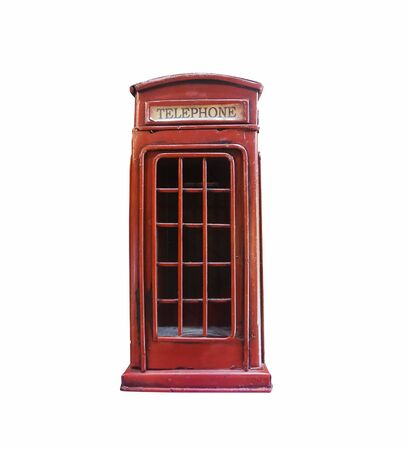 Close-up Vintage red Telephone Booth isolated on white