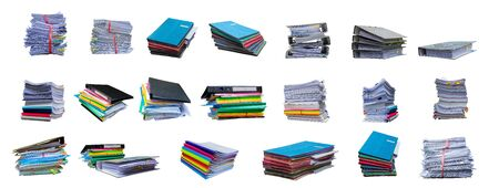 collection of Pile of papers with document file isolated bound with string on white background 版權商用圖片