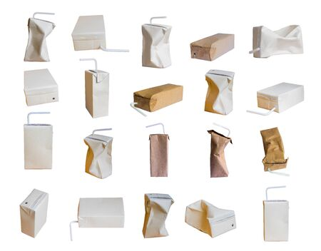 Collection Used milk carton is crumple isolated on white background