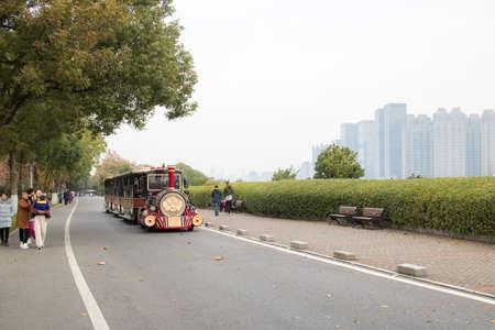 Cartoon tram for tourists in Orange Isle,china