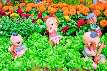 garden marigold: happy dolls in garden