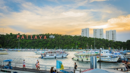 sunset Pattaya bay  in Thailand