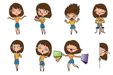 8 lady emotions, illustration, white background Stock Photo