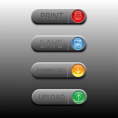 Set of computer icons for save, print, upload, and download Illustration