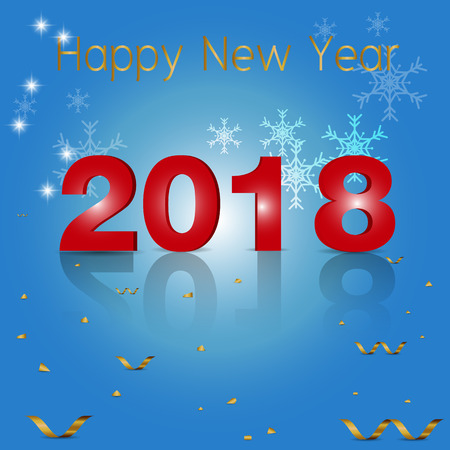 Happy new year 2018 Gold Text Design vector.
