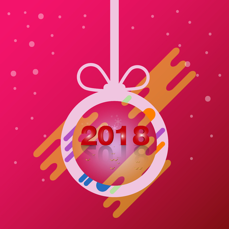 Happy new year 2018 christmas ball Design vector Illustration