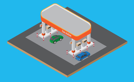 Isometric gas station with cars, gasoline pump on the road Vector.
