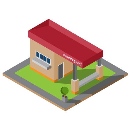 Isometric guardhouse vector illustration Illustration