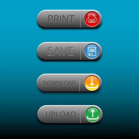 Four buttom save print upload and download vector banner. Illustration