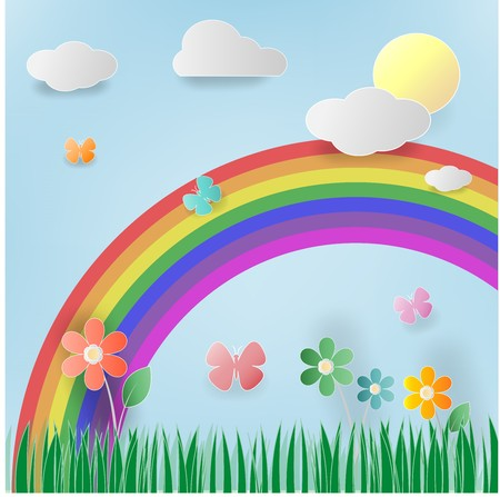 Floral summer , meadow with flowers,sun,clound, blue sky ,rainbow and butterflies. Illustration