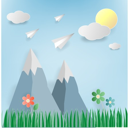 Rocket start up, meadow with flowers,sun,clound, blue sky and rainbow. Illustration