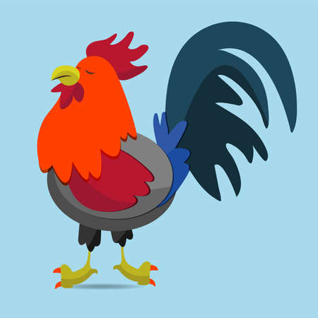 Cartoon rooster on blue background.