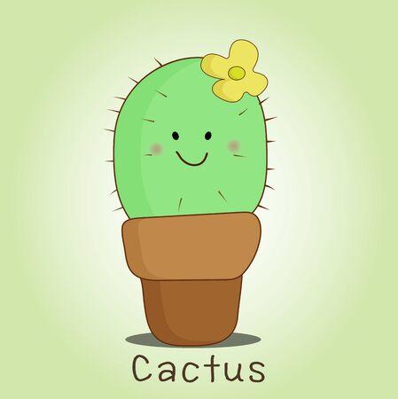 Cute smile cactusa in  pot  illustration vector  Illusztráció