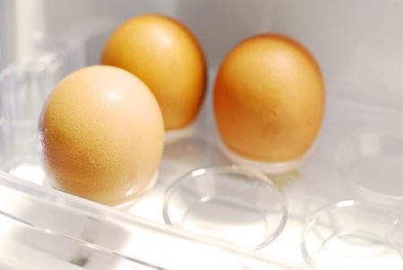 three row eggs Stock Photo