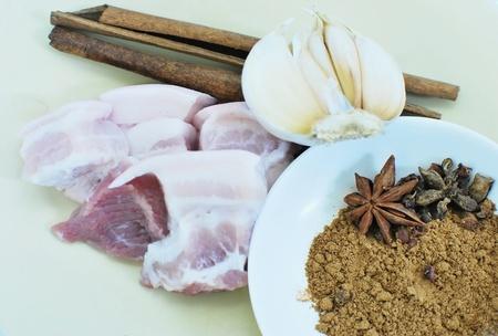 Ingredient of pork stewed in the gravy Stock Photo
