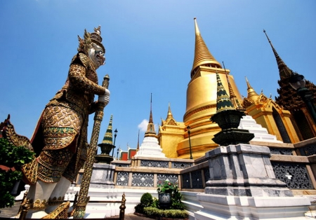 Thai temple in Bangkok photo
