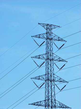 high voltage tower on a background of the sky