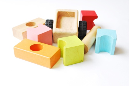 Stock Photo  Wooden building blocks isolated on white background