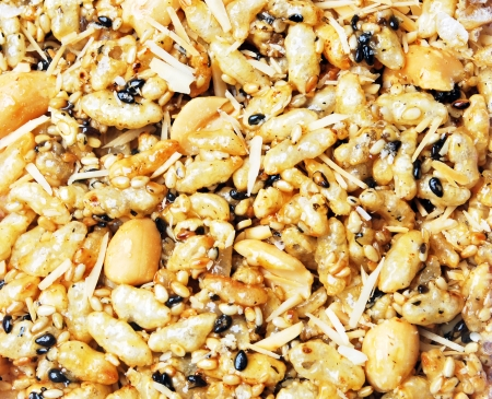 compressed rice: sweet grain with popped rice peanuts Stock Photo