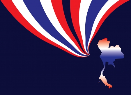 Thailand map with flag on dark blue background
