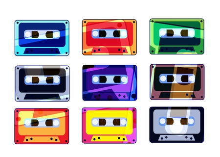 Analogue music recordable colorful cassettes photo
