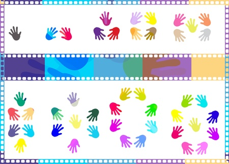 fingerprinted: Abstract Background with Colorful Hand prints