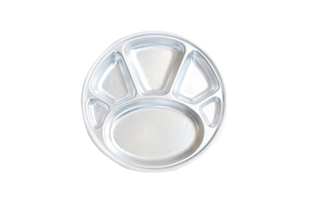 Hole trays for children meal on white background