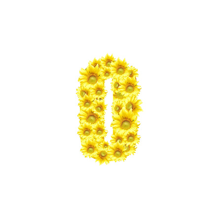 Sunflowers with alphabet letter No 0 Stock Photo