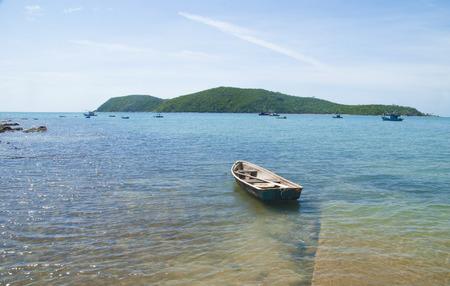 Boat on sea beach background
