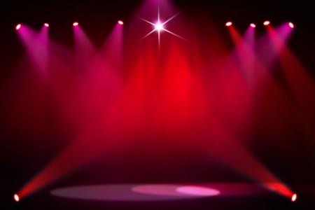 La luz de fondo roja de la etapa Foto de archivo - 44336946