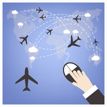 choose a path: Hand click for booking flight with airplane destination routes background