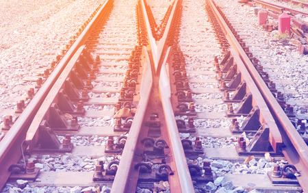 railway points: Detail of railway with soft light and soft focus style Stock Photo