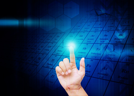 hand press: Hand press buttons on Science formula  Molecules background Stock Photo