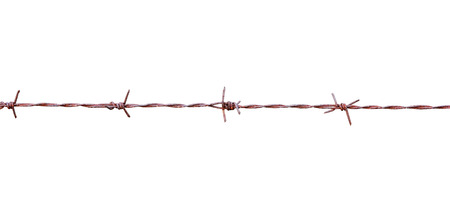 barbed wire isolated: Rusty barbed wire isolated