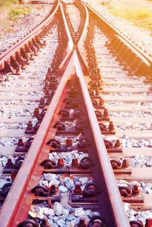 complicated journey: Detail of railway with soft light and soft focus style Stock Photo