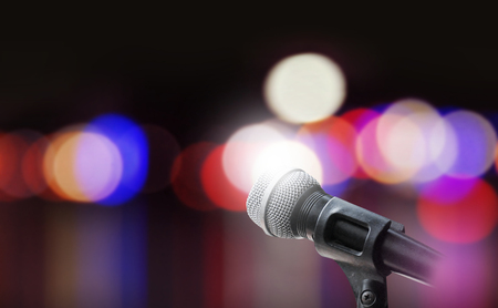 microphone: Microphone on stage background
